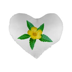 Yellow Flower With Leaves Photo Standard 16  Premium Flano Heart Shape Cushions