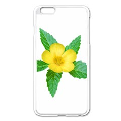 Yellow Flower With Leaves Photo Apple iPhone 6 Plus/6S Plus Enamel White Case