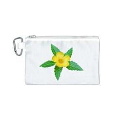 Yellow Flower With Leaves Photo Canvas Cosmetic Bag (S)
