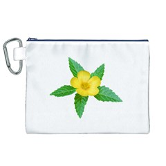 Yellow Flower With Leaves Photo Canvas Cosmetic Bag (XL)