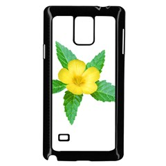 Yellow Flower With Leaves Photo Samsung Galaxy Note 4 Case (Black)