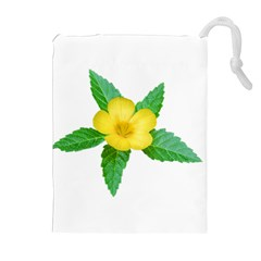 Yellow Flower With Leaves Photo Drawstring Pouches (Extra Large)