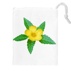 Yellow Flower With Leaves Photo Drawstring Pouches (XXL)