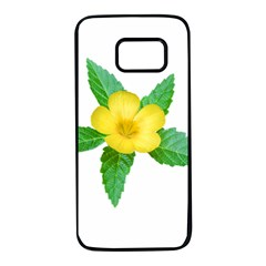 Yellow Flower With Leaves Photo Samsung Galaxy S7 Black Seamless Case