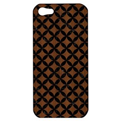 Circles3 Black Marble & Brown Wood (r) Apple Iphone 5 Hardshell Case