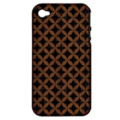 Cir3 Bk Mrbl Br Wood Apple Iphone 4/4s Hardshell Case (pc+silicone)