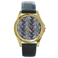 Black Floral Lace Pattern Round Gold Metal Watch