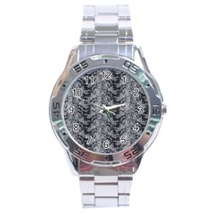 Black Floral Lace Pattern Stainless Steel Analogue Watch