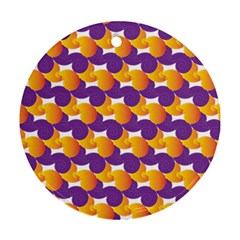 Purple And Yellow Abstract Pattern Ornament (round)