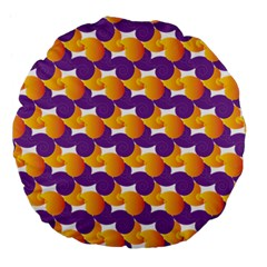 Purple And Yellow Abstract Pattern Large 18  Premium Flano Round Cushions