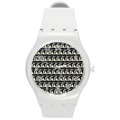 Colorful Pop Art Monkey Pattern Round Plastic Sport Watch (m)
