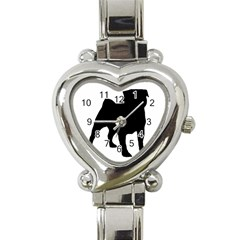 Pug Silo Black Heart Italian Charm Watch