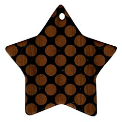 Circles2 Black Marble & Brown Wood Ornament (star)