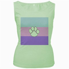Furry Feline Women s Green Tank Top