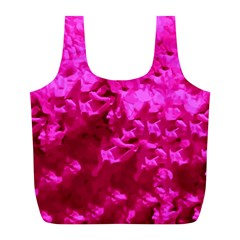 Hot Pink Floral Pattern Full Print Recycle Bags (l)