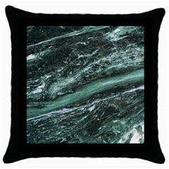 Green Marble Stone Texture Emerald  Throw Pillow Case (black)