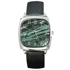 Green Marble Stone Texture Emerald  Square Metal Watch