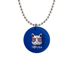 Cat I Love Usa Button Necklace