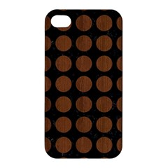 Circles1 Black Marble & Brown Wood Apple Iphone 4/4s Hardshell Case