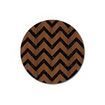 CHEVRON9 BLACK MARBLE & BROWN WOOD (R) Magnet 3  (Round) Front