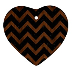 Chevron9 Black Marble & Brown Wood Ornament (heart)