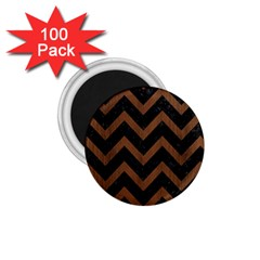 Chevron9 Black Marble & Brown Wood 1 75  Magnet (100 Pack)