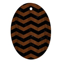 Chevron3 Black Marble & Brown Wood Ornament (oval)