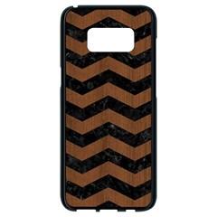 Chevron3 Black Marble & Brown Wood Samsung Galaxy S8 Black Seamless Case
