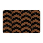 CHEVRON2 BLACK MARBLE & BROWN WOOD Magnet (Rectangular) Front