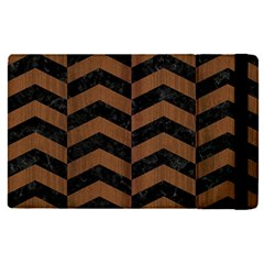 Chevron2 Black Marble & Brown Wood Apple Ipad Pro 12 9   Flip Case