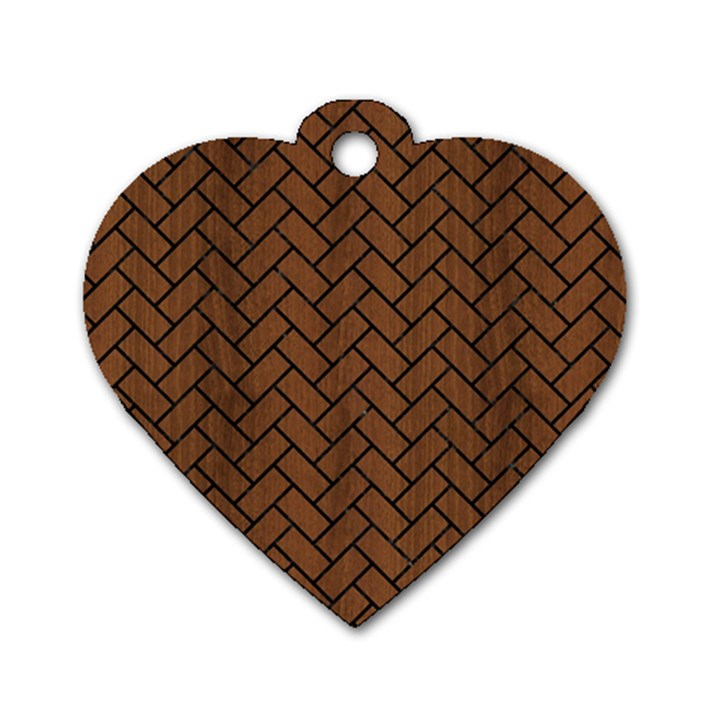 BRICK2 BLACK MARBLE & BROWN WOOD (R) Dog Tag Heart (Two Sides)