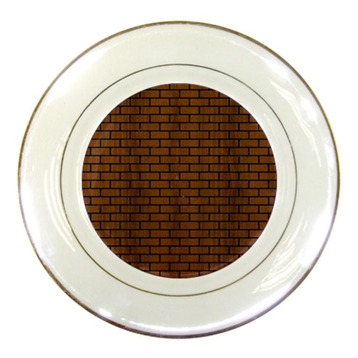 BRICK1 BLACK MARBLE & BROWN WOOD (R) Porcelain Plate