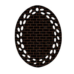 Brick1 Black Marble & Brown Wood Oval Filigree Ornament (two Sides)