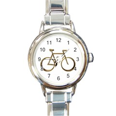 Elegant Gold Look Bicycle Cycling  Round Italian Charm Watch