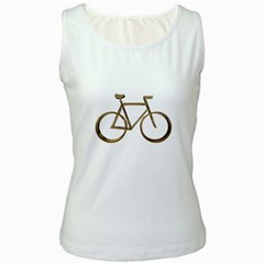 Elegant Gold Look Bicycle Cycling  Women s White Tank Top