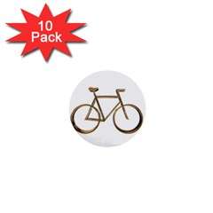 Elegant Gold Look Bicycle Cycling  1  Mini Buttons (10 Pack)