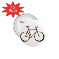 Elegant Gold Look Bicycle Cycling  1 75  Buttons (10 Pack)