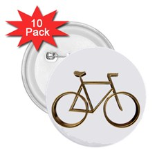 Elegant Gold Look Bicycle Cycling  2 25  Buttons (10 Pack)