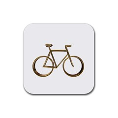 Elegant Gold Look Bicycle Cycling  Rubber Coaster (square)