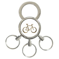 Elegant Gold Look Bicycle Cycling  3 Ring Key Chains