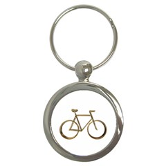 Elegant Gold Look Bicycle Cycling  Key Chains (round)