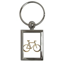 Elegant Gold Look Bicycle Cycling  Key Chains (rectangle)