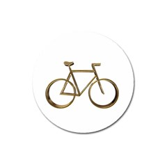 Elegant Gold Look Bicycle Cycling  Magnet 3  (round)