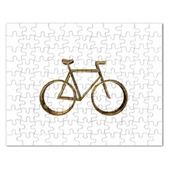 Elegant Gold Look Bicycle Cycling  Rectangular Jigsaw Puzzl