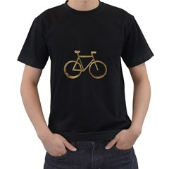 Elegant Gold Look Bicycle Cycling  Men s T Shirt (black) (two Sided)