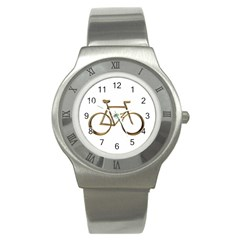 Elegant Gold Look Bicycle Cycling  Stainless Steel Watch