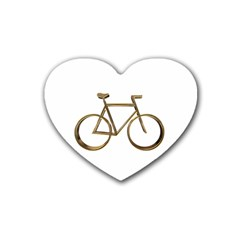 Elegant Gold Look Bicycle Cycling  Heart Coaster (4 Pack)