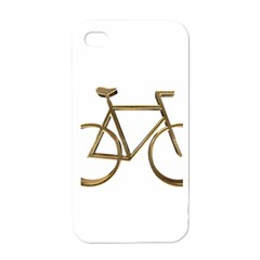 Elegant Gold Look Bicycle Cycling  Apple Iphone 4 Case (white)