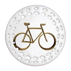 Elegant Gold Look Bicycle Cycling  Round Filigree Ornament (two Sides)