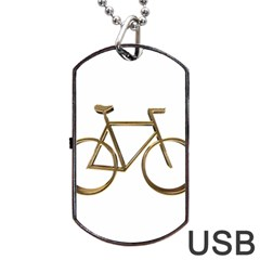 Elegant Gold Look Bicycle Cycling  Dog Tag Usb Flash (one Side)